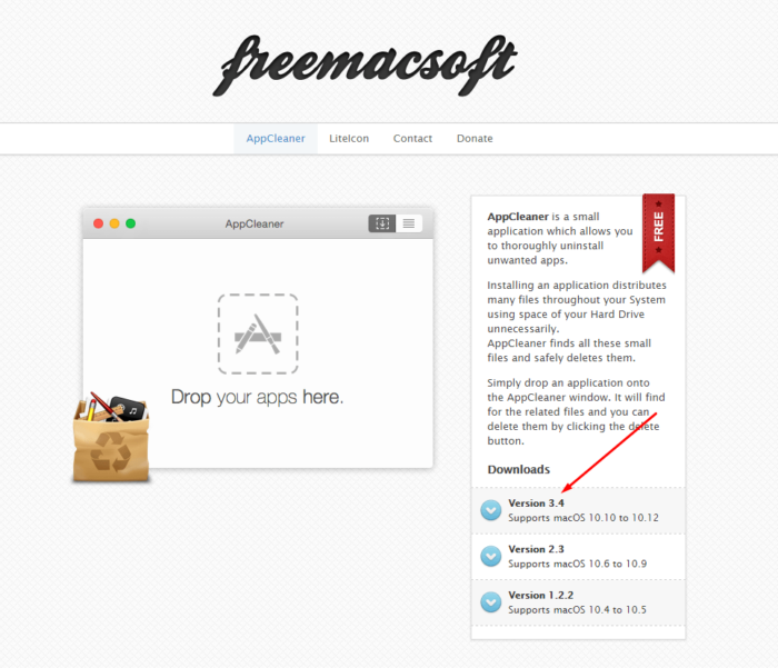 Переходим на сайт разработчика и скачиваем программу AppCleaner