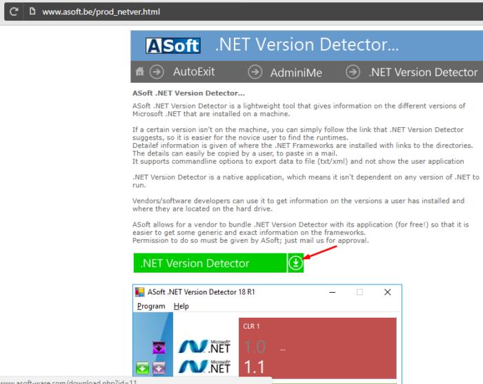 Переходим на сайт разработчика утилиты .NET Version Detector, нажимаем на значок загрузки