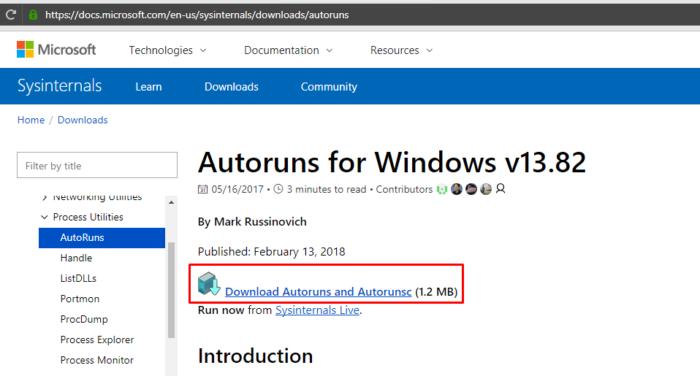 Переходим по ссылке на сайт Майкрософт, нажимаем ссылку «Download Autoruns and Autorunsc»