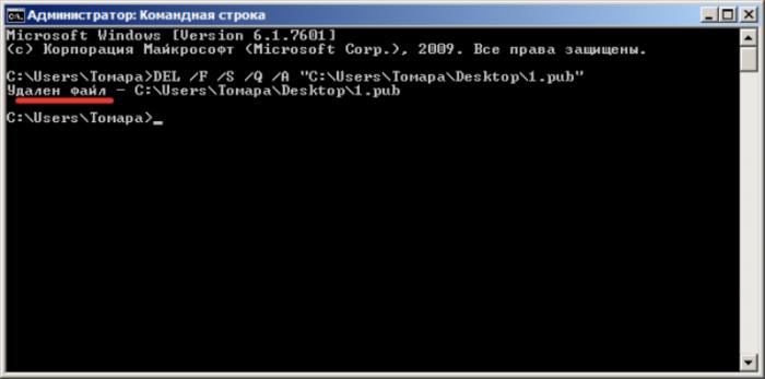 После завершения процесса, командная строка сообщит, что «Удален файл» и его путь