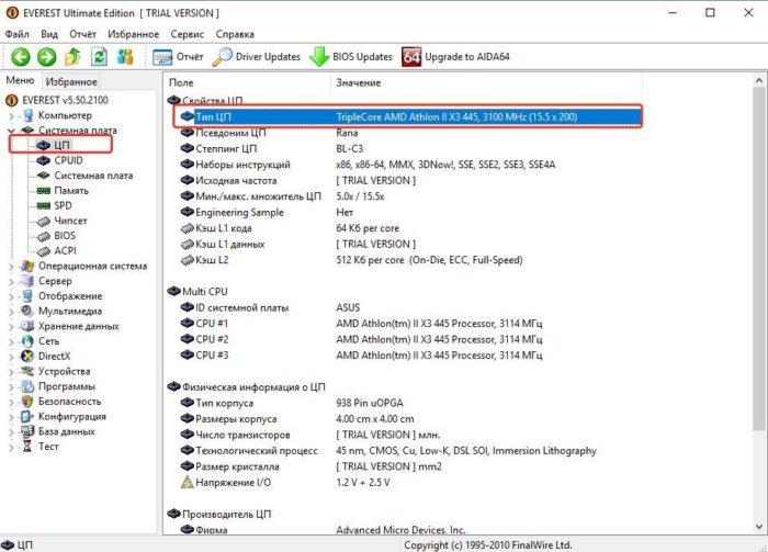 Щелкаем по пункту «ЦП», в правой части окна находим нужные данные в поле «Тип ЦП»