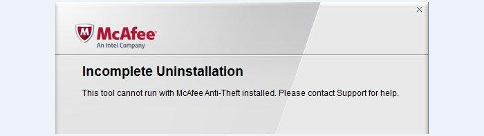 Сообщение о невозможности удаления McAfee с помощью MCPR