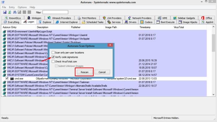 Ставим галочку на пункт «Verify code signatures» («Проверить подписи кода»), нажимаем кнопку «Rescan» или «F5»