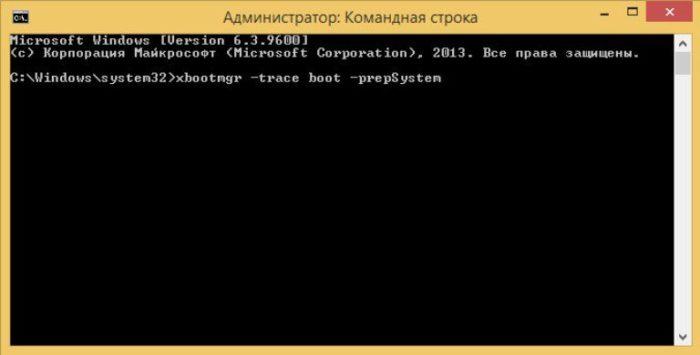 В поле командной строки вводим команду «xbootmgr -trace boot -prepSystem», нажимаем «Enter»