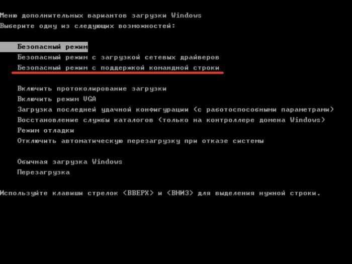 Вариант «Безопасный режим с поддержкой командной строки» запускает не рабочий стол (процесс explorer), а командную строку, подходит для продвинутых пользователей