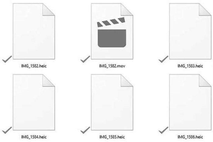 Вид картинок в формате HEIC в системе Виндовс