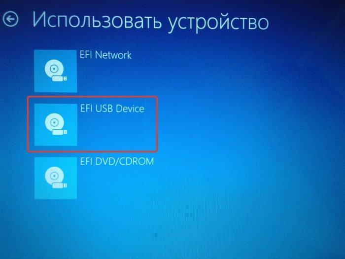 Выбираем пункт «EFI USB Device»