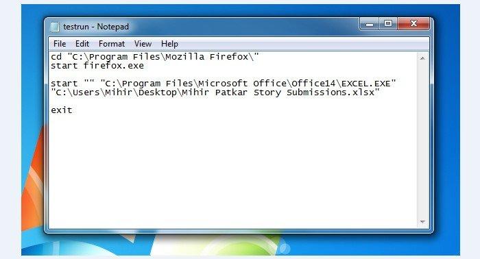 Запись start firefox.exe приобретает рабочий вид