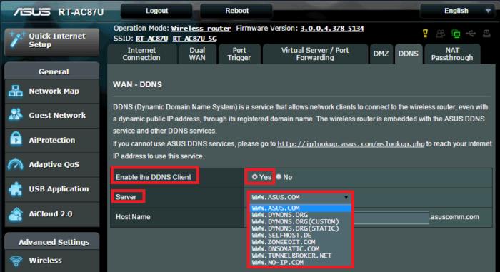 На вкладке «WAN – DDNS» в поле «Enable the DDNS Client» ставим галочку на «Yes», в пункте «Server» выбираем asus