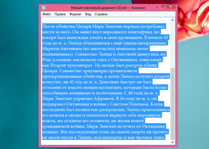 Нажимаем клавиши «Ctrl+A», чтобы выделить текст, сочетание клавиш «Ctrl+C», чтобы скопировать