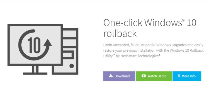 Откат системы с помощью утилиты Windows 10 Rollback Utility