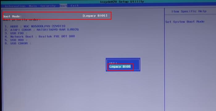 Переходим в меню «Boot», далее на строку «Boot Mode», щелкаем «Enter», выбираем «Legasy BIOS», щелкаем «Enter», нажимаем «F10», чтобы сохранить изменения