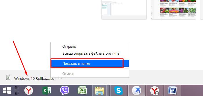 Щелкаем по скачанному файлу правой кнопкой мышки, выбираем пункт «Показать в папке»
