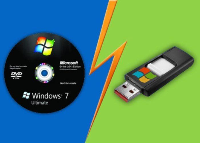 Вставляем в дисковод установочный диск или подключаем загрузочную флешку с Windows 7