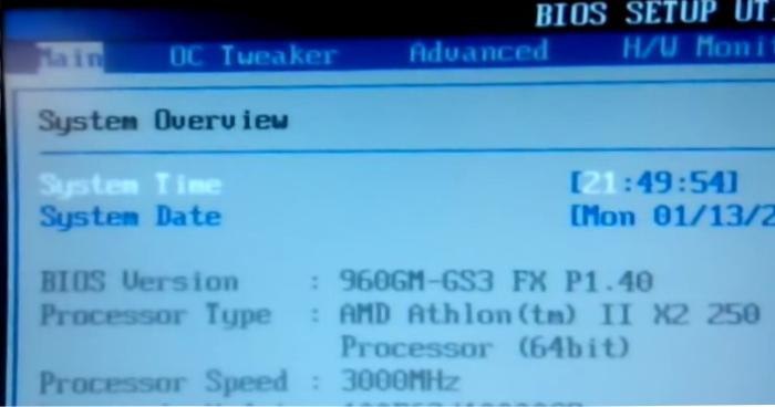 Главное меню BIOS