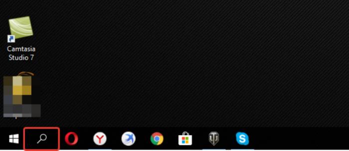 Нажимаем на значок лупы рядом с кнопкой Windows левым кликом мыши