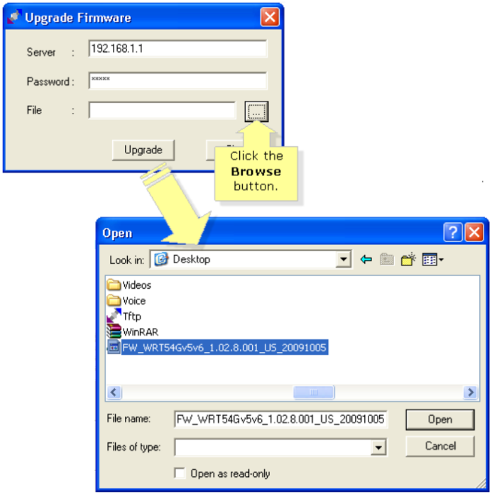 Нажимаем в строке «File» («Файл») кнопку выбора (с тремя точками), щелкаем в меню на скачанном файле прошивки, нажимаем «Open» («Открыть»)
