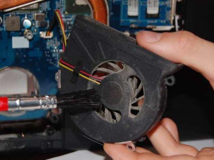 Очистка лопастей вентилятора от пыли