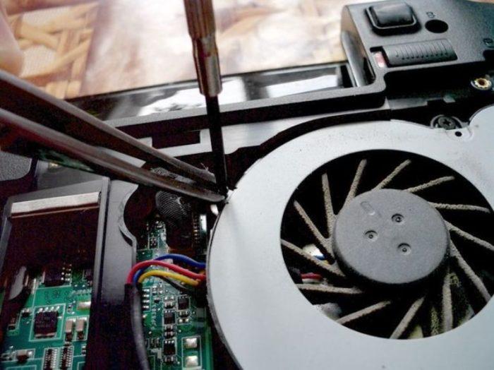 Откручиваем 4 винта, удерживающих защитную крышку вентилятора