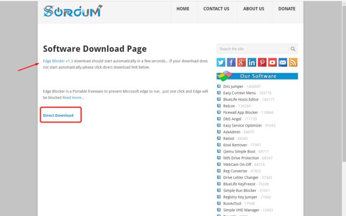 Переходим по ссылке на страницу Edge Blocker, нажимаем левой кнопкой мыши ссылку «Direct Download»