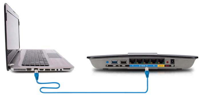 Соединяем Ethernet-кабель с роутером, один конец подключаем к разъему RJ-45 на ПК, а другой к какому-либо из портов LAN роутера