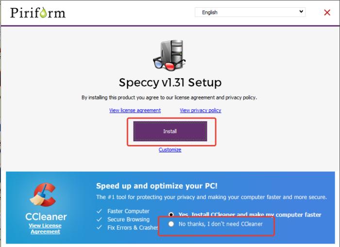 Ставим точку «No, thanks» на предложение об установке CСleaner, нажимаем «Install»