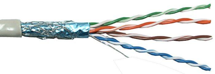 Ethernet-кабель витая пара с экранированием в виде алюминиевой фольги