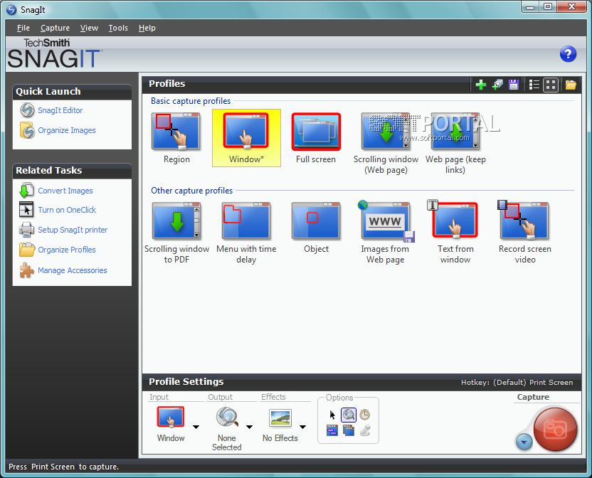 Интерфейс программы Snagit 11