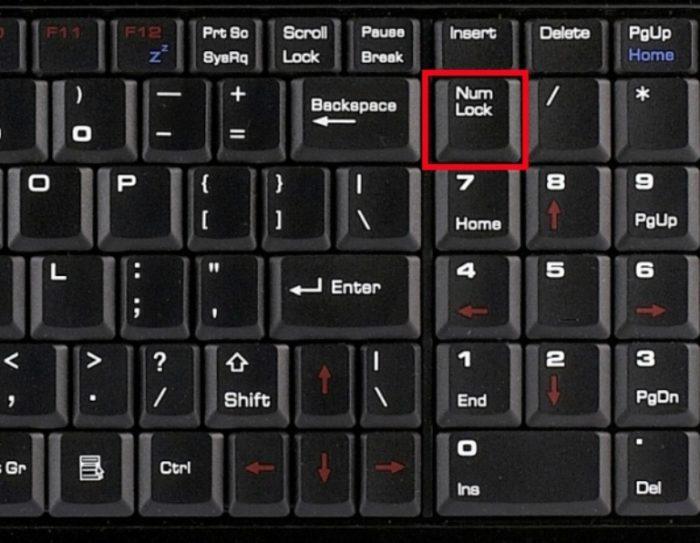 Место расположения клавиши «NumLock»
