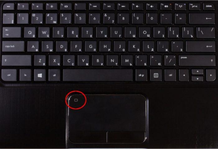 На некоторых ноутбуках в левом верхнем углу есть специальная кнопка для включения-выключения тачпада