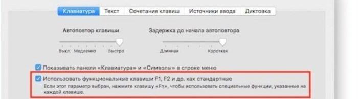 Ставим флажок на пункте об использовании функциональных клавиш «F1-F12»