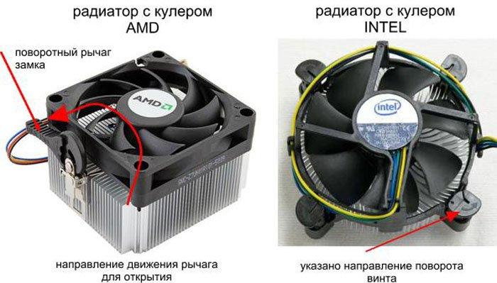 Варианты отсоединение радиатора от кулера от разных производителей