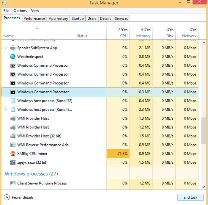 Вирус майнер в виде исполняемого файла XMRig CPU Miner