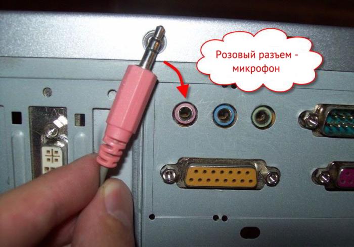 Вставляем штекер микрофона в розовый разъём