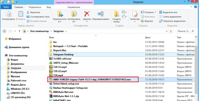 Запускаем скачанный файл с драйвером из папки «Загрузки»