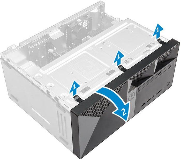 Если не получается вытянуть дисковод вовнутрь, снимаем лицевую панель системного блока, отвернув четыре болта либо немного отогнув защелки в четырех местах