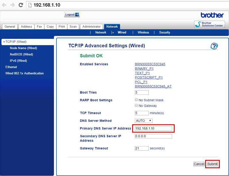 Кликаем «Network» и вводим требуемый IP-адрес
