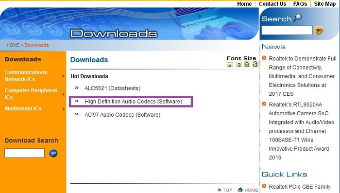 На официальном сайте разработчика находим «Hot Downloads» и кликаем на пункт «High Definition Audio Codecs»