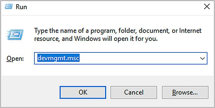 Набираем в строке «devmgmt.msc», нажимаем «OK»