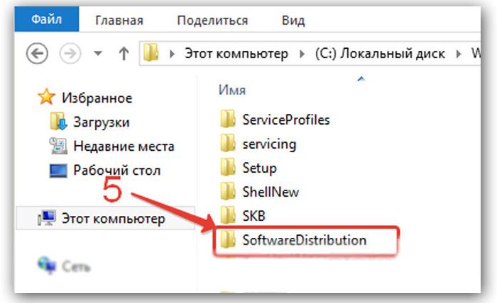 Находим и открываем в списке «SoftwareDistribution»
