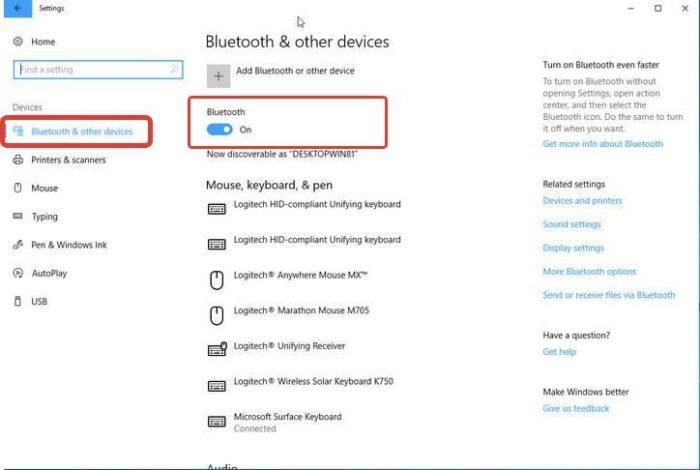 Нажимаем «Bluetooth & other devices» с левой стороны, в опции «Bluetooth» перемещаем переключатель в режим «On» («Вкл.»)