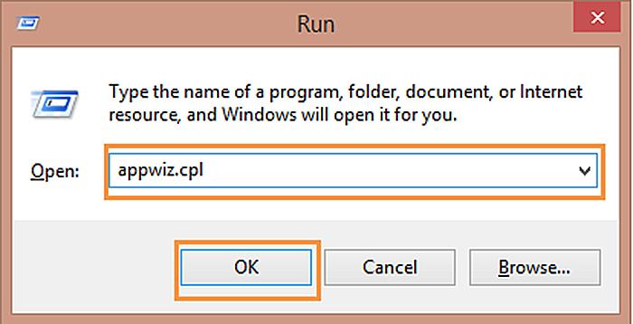 Нажимаем Win+R, печатаем «appwiz.cpl» и нажимаем «OK»