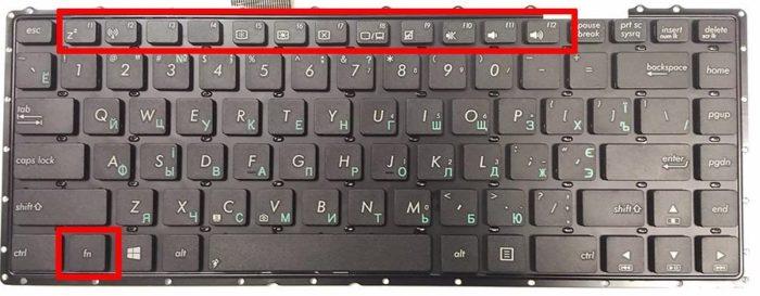 Нажимаем клавишу «Fn»+«F1» или другое сочетание