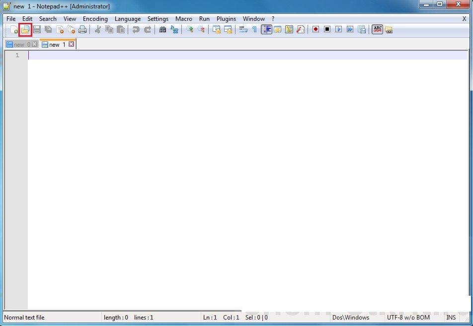 Нажимаем на иконку «Файл» и «Открыть»