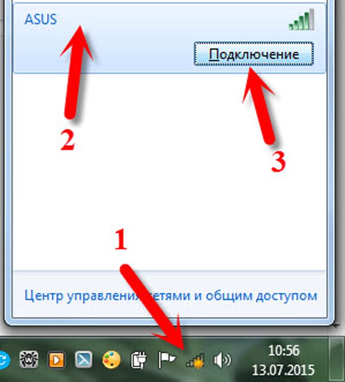 Нажимаем в панели задач по значку беспроводной сети, затем по кнопке «Подключение»
