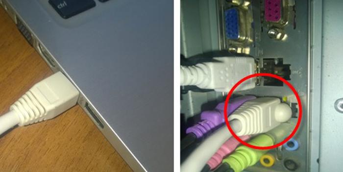 Один конец сетевого кабеля подключаем в сетевой разъем ПК или ноутбука