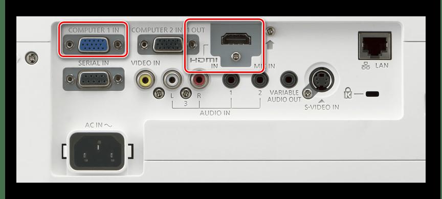 Одну часть коннектора нового кабеля подсоединяем на задней панели проектора в разъем «Computer IN»