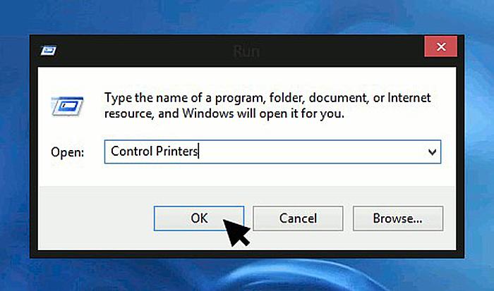 Печатаем в окне «control printers» и нажимаем «OK»