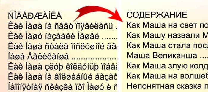 При открытии документа, сохраненного одним типом кодировки, в другом формате кодировки невозможно будет прочитать