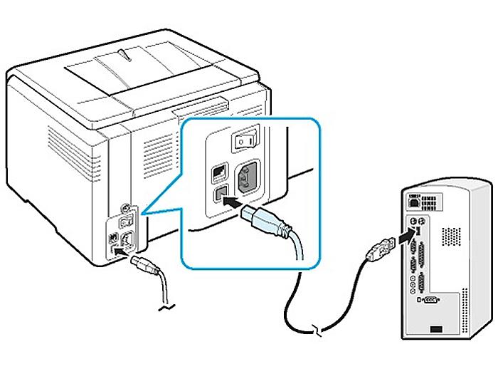 Соединяем принтер и ПК USB-кабелем